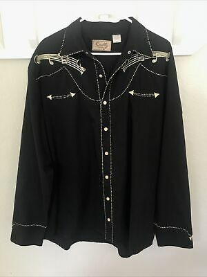 $32.99 • Buy SCULLY Embroidered Musical Notes Western Cowboy Shirt Smiley Pocket Snap Black