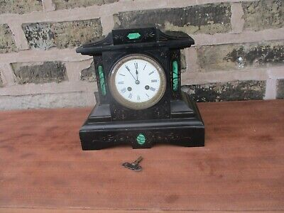 £195 • Buy Antique French Victorian Japy Freres Black Marble / Slate Striking Mantle Clock