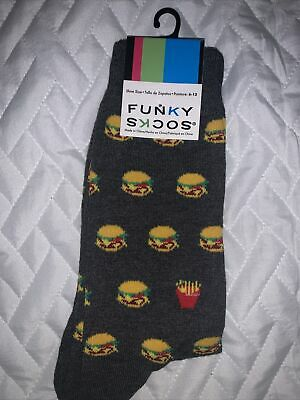 $9 • Buy Funky Socks Cheeseburger Fries Pattern Shoe Size 6-12 Centric