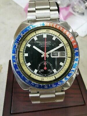 $ CDN629.42 • Buy Vintage Pogue Seiko 6139-6002 Automatic Chronograph Day Date Blue Dial