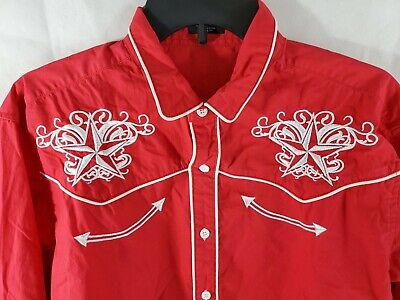 $24.99 • Buy Coofandy Mens Western Shirt XL Red White Embroidered Long Sleeve Button Up Rodeo