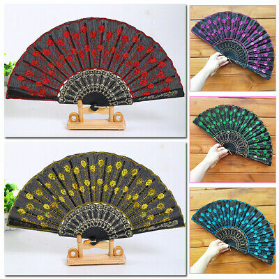 £1.89 • Buy Chinese Folding Fan Sequins Peacock Tail Feather Printed Hand Fans Crafts Art