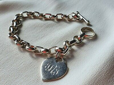 £19.99 • Buy 925 Sterling Silver Chain Bracelet With Heart Charm Engraved 'BUB', T Bar, 27g