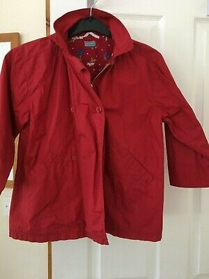£1 • Buy Enchanting Girls Red Showerproof Jacket With Embroidery, By Marese, Age 8