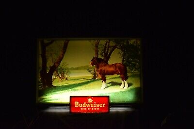 $ CDN503.53 • Buy Vintage Budweiser Lighted Bar Beer Sign Rare Antique Clydesdales 50s 60s
