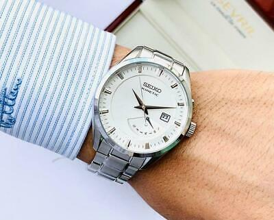 $ CDN615.81 • Buy Seiko SRN043P1 Day Date Stainless Steel Kinetic Mens Watch Authentic Working
