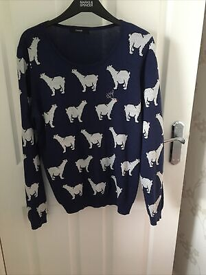 £6.50 • Buy George Jumper Size 14 Reindeers And Red Nosed Rudolph Silver Threads