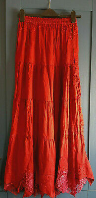 £9.99 • Buy Stunning Crimson Red Tiered Gypsy Petticoat Skirt Uk 8 Gothic Steampunk Wiccan