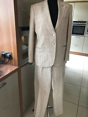 £39 • Buy Paul Costelloe Collection, Linen Trouser Suit, Size 14, Cream And Beige Check