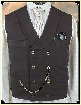 $28 • Buy Old West Cowboy Victorian Double Breasted Vest Black Sass Frontier Classics