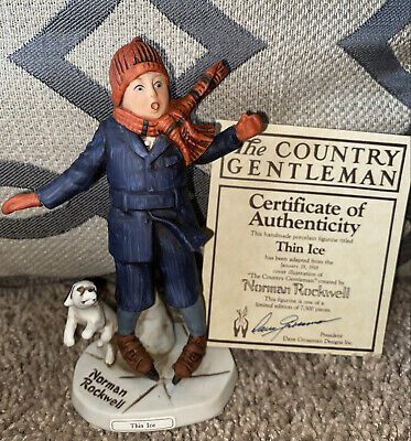 $ CDN16.17 • Buy Norman Rockwell Dave Grossman Thin Ice Figurine With Coa And Box Vintage