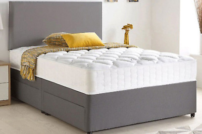 £209.95 • Buy Fabric Divan Bed Set With Memory Foam Mattress And Headboard Double King Single