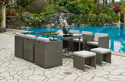 £449.99 • Buy Rattan Garden Furniture Outdoor Cube Set 11pc Conservatory Patio Dining Set