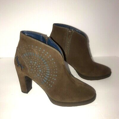 £29 • Buy Disigual Womens Ankle Boots Brown Leather Cutout Blue Detail Side Zip Size 38 8