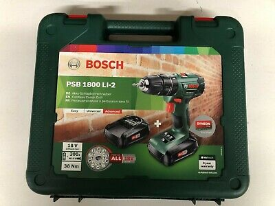 £88.99 • Buy Bosch 18v Lithium-Ion Cordless Combi Drill, Battery Charger &Case PSB 1800 LI-2