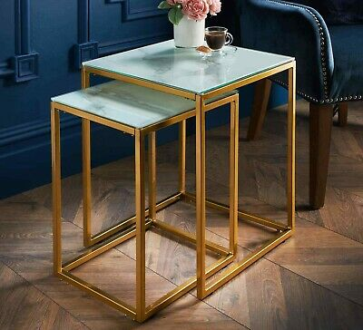 £64.99 • Buy NEW Modern Set Of 2 Glass Marble Effect Tops Nest Of Table With Gold Finish Leg