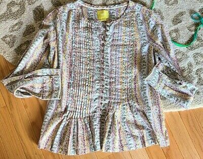 $ CDN25.08 • Buy EXCELLENT CUTE WOMENS MAEVE ANTHROPOLOGIE GOLD BUTTON DOWN SHIRT TOP Xs FLORAL