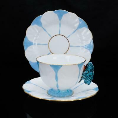 £686.59 • Buy AYNSLEY Butterfly Antique Handled Blue White Trio Set Cup,Saucer,Plate Set Used