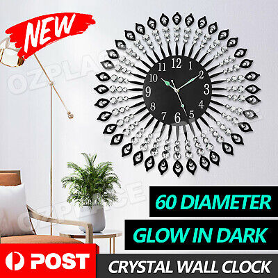 AU45.95 • Buy Large Modern 3D Crystal Wall Clock Luxury Art Silent Round Dial Home Decor New