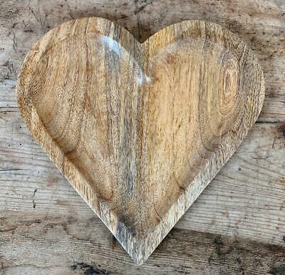 £13.49 • Buy Natural Wooden Heart Trinket Jewellery Fruit Dish Bowl Tray Home Decor