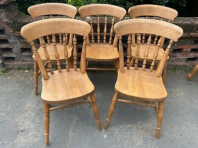 £145 • Buy Set Of 5 Stained Pine Farmhouse Style Kitchen Dining Chairs
