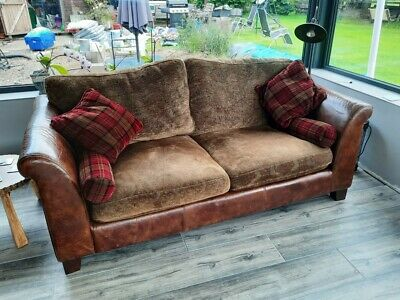£100 • Buy HALO Extra Large Tartan Cloth And Leather Feature Sofa