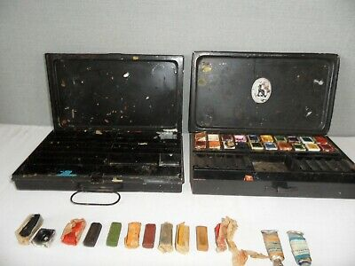 £9.99 • Buy Reeves Japanned Paint Box X 2 - Vintage - Some Watercolour Paint / Oils Included