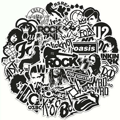 £3.99 • Buy 50 Rock Black White Stickers Heavy Metal Punk Band Music Guitar Car Decal UK NEW