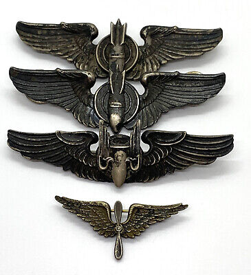 $178.50 • Buy 4 Vintage WWII Military Wings Sterling Badges Pins - Bomber Wings, Bomber Crew
