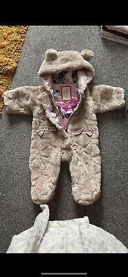 £3.90 • Buy Ted Baker Baby Girls Faux Fur Snowsuit & Mittens. 0-3 Months.