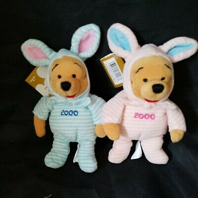 £4.99 • Buy 2 X Easter Disney Bunny Pooh Year 2000 1 Blue, 1 Pink, With Tags