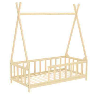 £105.95 • Buy Natural Pine Wood Kids Bed Single Bed Bedframe Toddler Sleep Station With Guard