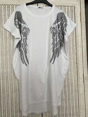 £4 • Buy Embellished Crystal Diamanté T Shirt White Angel Wings