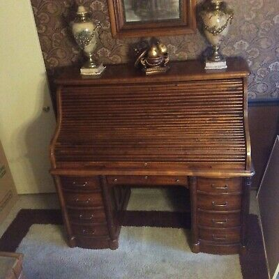 $319 • Buy Vintage  Mahogany S Roll Top Writing Desk National Mt. Airy Bookcase