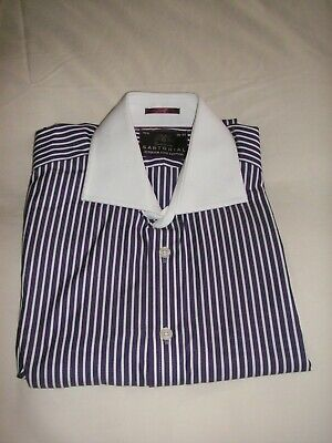 £17.99 • Buy M&s Sartorial Gents Long Sleeve Striped Shirt 151/2   39-40 Double Cuff