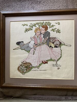£9.37 • Buy Norman Rockwell 14x16 Flowers In Tender Bloom  Finished Cross Stitch Piece