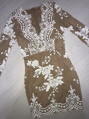 £130 • Buy The Dolls House Beige Sequin Bodycon Dress. UK XS. Worn Once.