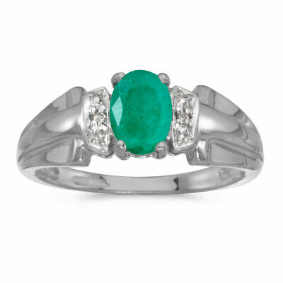 AU823.20 • Buy 14k White Gold Oval Emerald And Diamond Ring