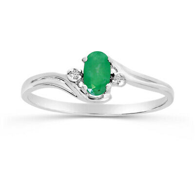 AU306 • Buy 10k White Gold Oval Emerald And Diamond Ring