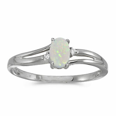 AU672.80 • Buy 14k White Gold Oval Opal And Diamond Ring