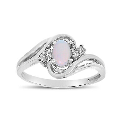 AU935.60 • Buy 14k White Gold Oval Opal And Diamond Ring
