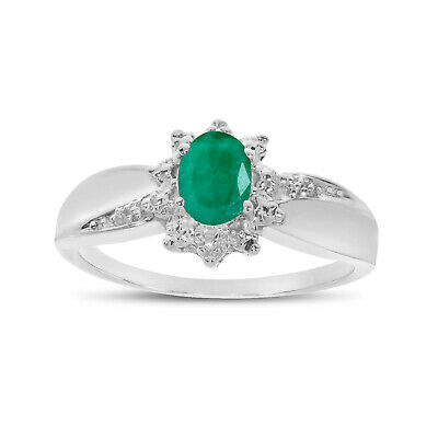 AU735.60 • Buy 14k White Gold Oval Emerald And Diamond Ring
