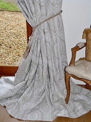 $589.43 • Buy HARLEQUIN CURTAINS Interlined LINEN Grey White MACRAME Ea 100 W 93 D UNUSED