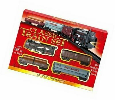 £7.50 • Buy Classic Train Set Tracks Kids Toy Battery Operated Tanker Carriage Engine Lights
