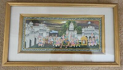 $41.26 • Buy Mughal Indian Painting - Maharaja Procession On Elephants - Framed - 13 1/2