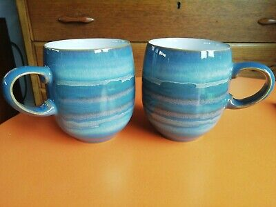 £28.99 • Buy 2 X Denby POTTERY Azure Blue Coast  Mugs Excellent Condition Large Mugs