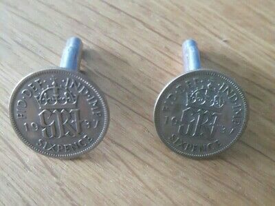 £5 • Buy 1937 84th Birthday SixPence Cufflinks Genuine Coins Mens VINTAGE