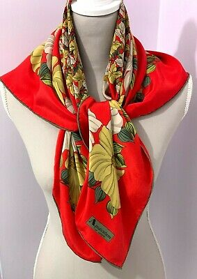 £19 • Buy AQUASCUTUM Of LONDON -Red With Flowers Satin Silk Scarf  -33 X 33 Inches