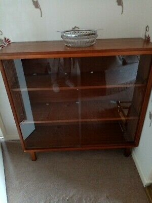 £9.70 • Buy China Cabinet/bookcase. Wood With Glass Sliding Doors