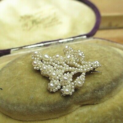 £74.99 • Buy Lovely Georgian Natural Seed Pearl Brooch Gold Back